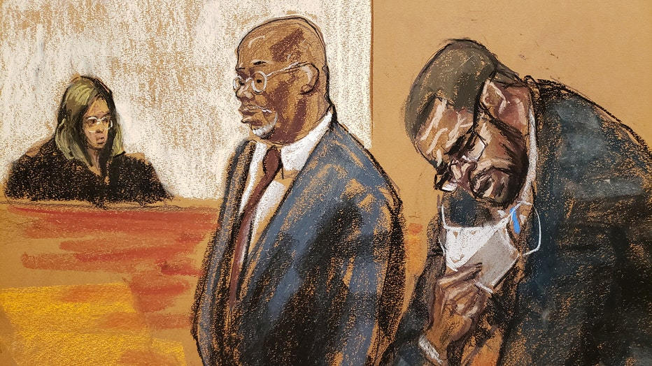 Sketching showing R Kelly pulling down his mask; judge sits behind the bench and a lawyer is near him