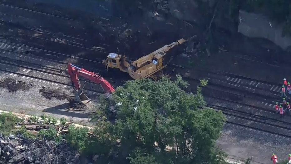 Aerial view of workers and machinery on railroad tracks, which are partly covered by dirt and debris