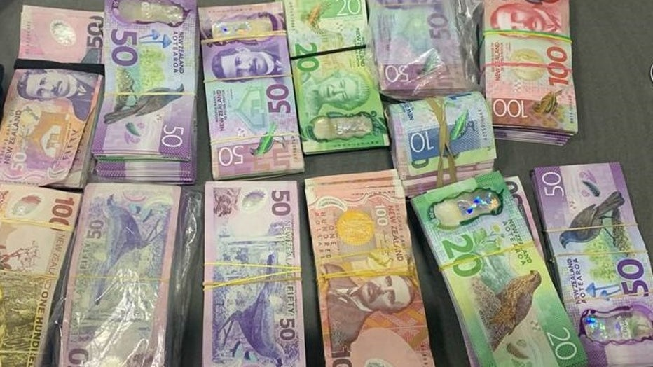 The confiscated cash is shown in a police photo. (New Zealand Police)