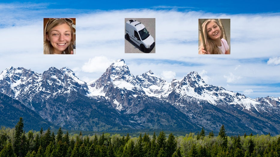 Pictures of Gabrielle Petito and her van are shown over a view of the Grand Tetons.(Photo by AaronP/Bauer-Griffin/GC Images)
