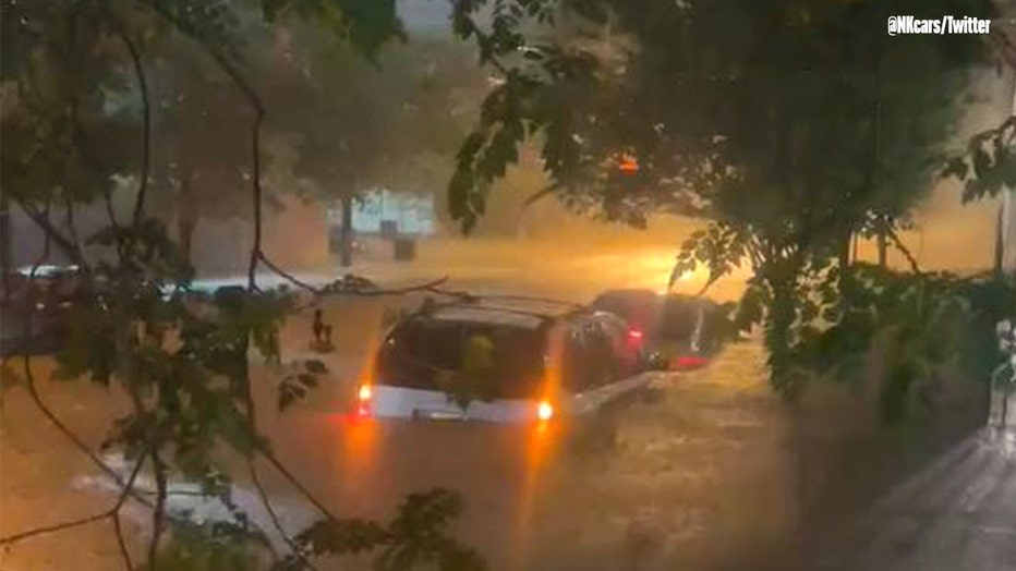 Caption: A photo captures historic flooding on Hamilton Street near New Jersey Railroad Avenue in the Ironbound section of Newark, New Jersey on Wednesday, Sept. 1, 2021. Photo by Nick Kurczewski