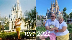 Florida mom and son take photo in same spot at Magic Kingdom as they did on opening day in 1971