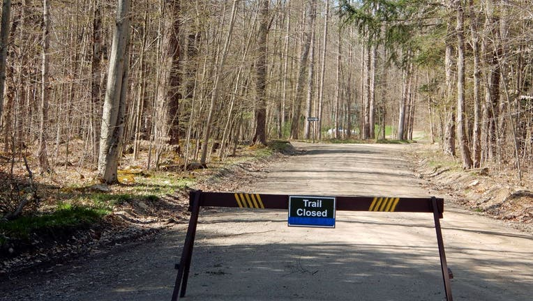 Trail Closed Due to Pandemic Social Distancing, Allegany State Park, Salamanca, New York.
