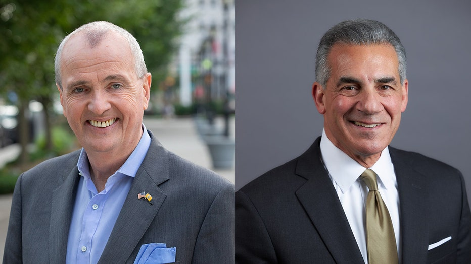 Two headshots of candidates for governor; left photo shows Phil Murphy wearing a gray sport coat and light blue shirt and pocket square; right photo shows Jack Cittarelli wearing a dark suit jacket, white shirt, and gold tie