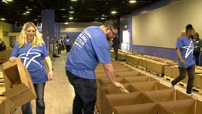 'A good cause:' Hunger Task Force volunteers build 500 festive Easter dinner boxes