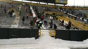 Get paid $12/hour to help shovel snow out of Lambeau Field on Wednesday