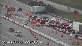 Serious crash temporarily closes lanes on I-41/94 NB at County G in Racine County