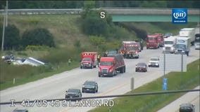 No injuries after cement mixer rolled in ditch along NB I-41/US 45 in Germantown