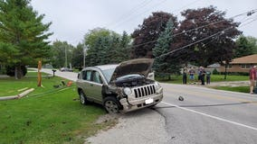 Driver suffers minor injuries after SUV took down power poles in Caledonia