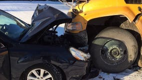 Slick roads lead to collision between car, school bus in Town of Beaver Dam