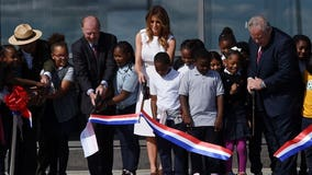 First Lady Melania Trump cuts ribbon on reopened Washington Monument