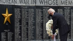 Biden makes 1st in-person appearance in 2+ months; lays wreath to mark Memorial Day