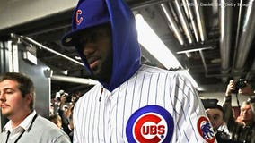 LeBron James sports Cubs uniform after losing bet with Dwyane Wade