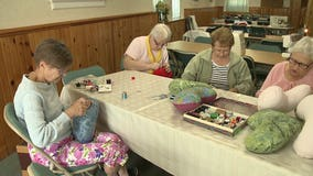 Group sews helping heart pillows for breast cancer patients ❤️