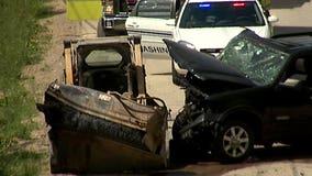 2 injured in near head-on crash involving SUV, skid loader near Scenic Pit in Richfield