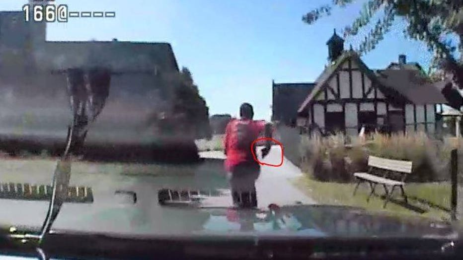 Dash cam picture of pursuit of Marquis King