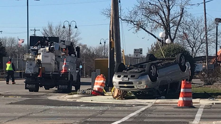 Rollover crash at 76th and Layton, Greenfield