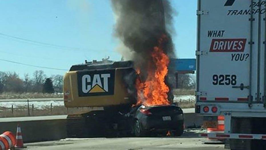 Car strikes excavator on I-94 in Racine Co.