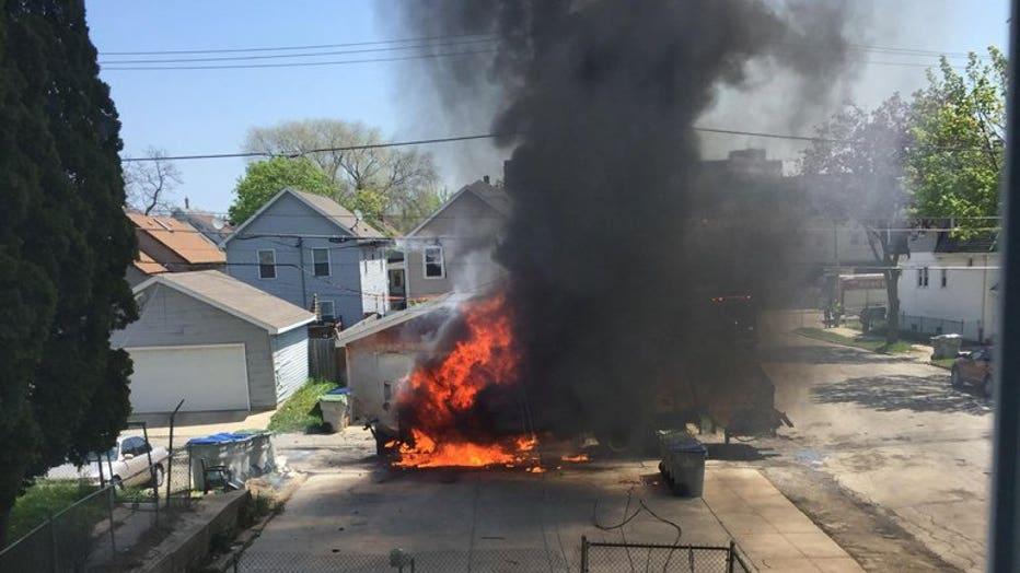 Garbage truck fire (Credit: Brenda Watkins)