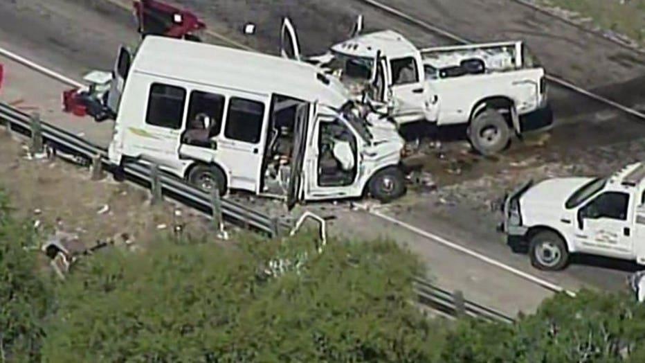 Head-on collision between church van, pickup truck