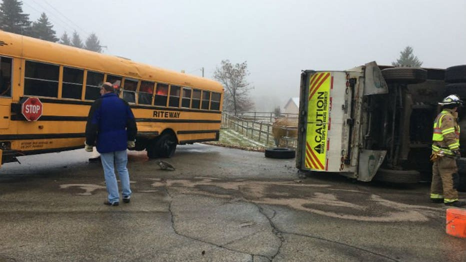 Garbage truck, school bus collide in Washington County