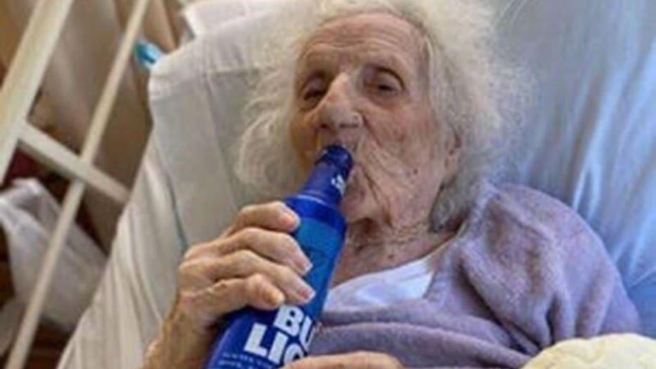 103-year-old cracks open Bud Light to celebrate coronavirus recovery