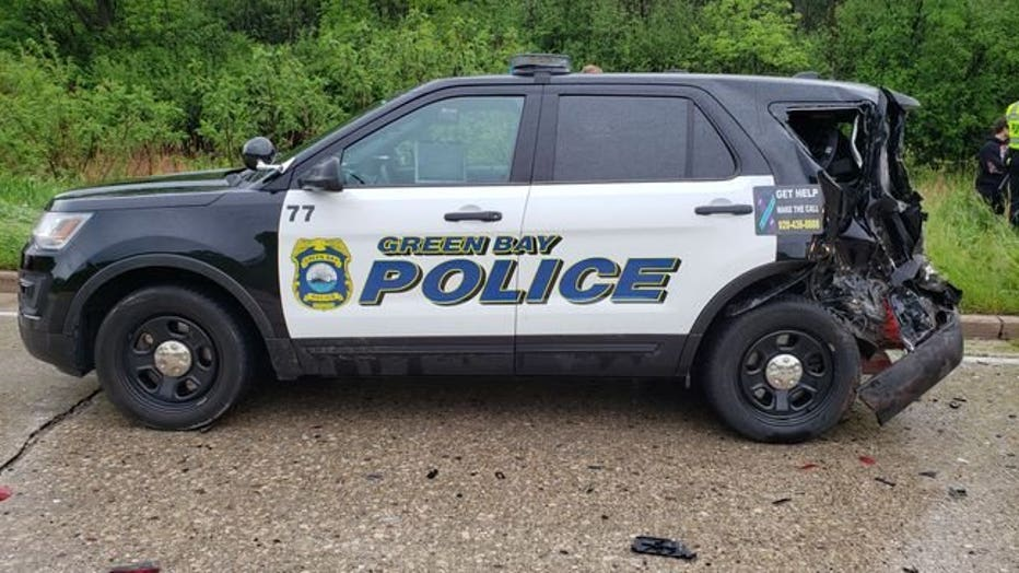 A Green Bay police vehicle was damaged in a crash May 28, 2020. (GBPD photo)