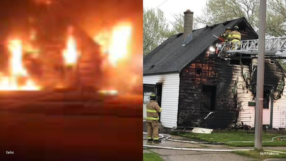Fatal fire near Coolidge Avenue and Webster Street in Racine (PHOTOS: Carlos and Scott Pederson)