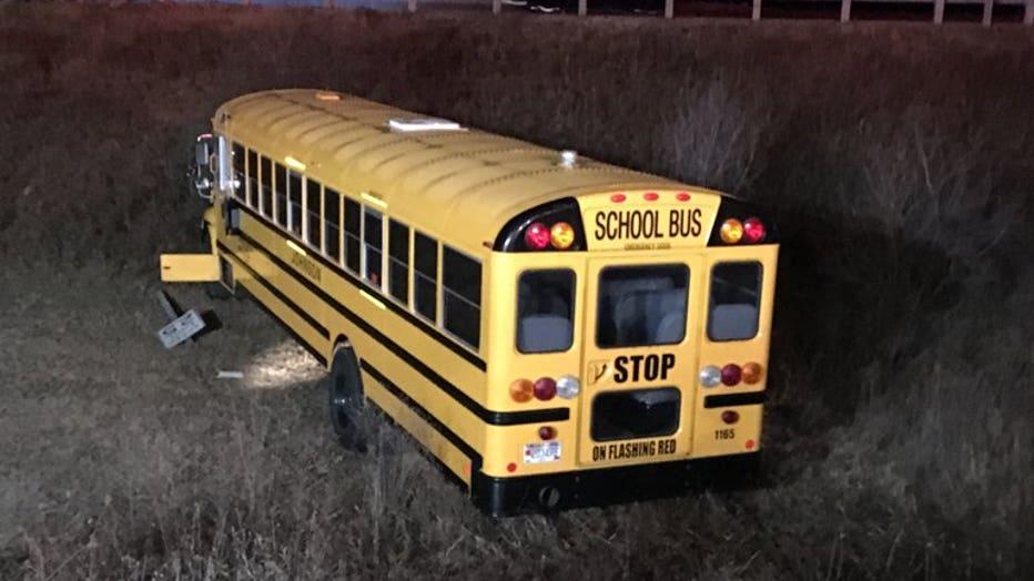 Crash involving school bus and pickup truck near Kewaskum