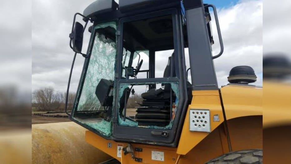 Construction equipment damaged in Town of Eagle, Waukesha County
