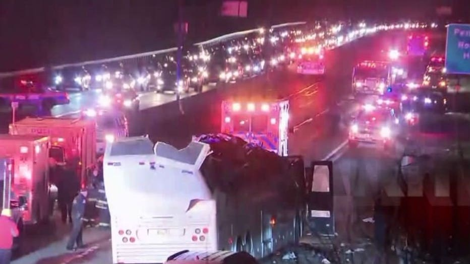 NY high school students injured when bus strikes overpass