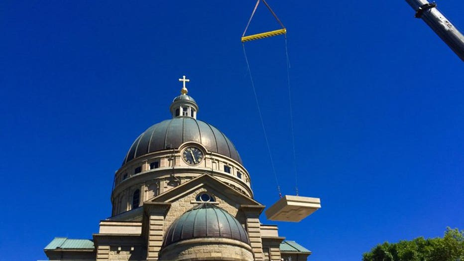 9,000 lb. stones put into place at The Basilica of St. Josaphat