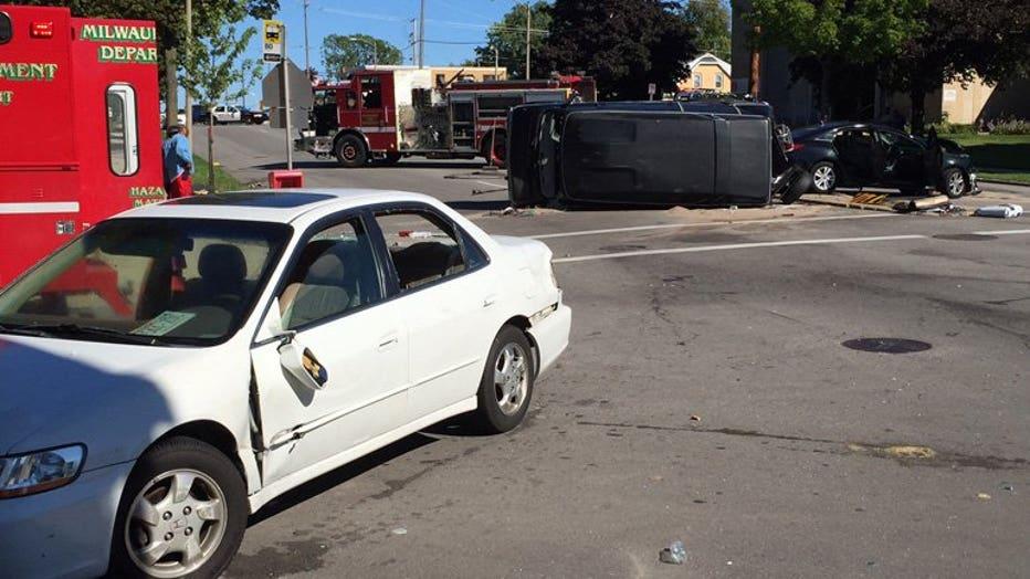 Multi-vehicle wreck at 55th & Villard, Milwaukee