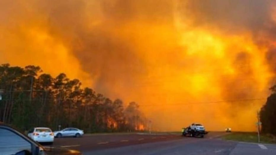 Around 500 people were ordered to evacuate from a wildfire in Walton County, Fla. on Wednesday. (Walton County Emergency Management)