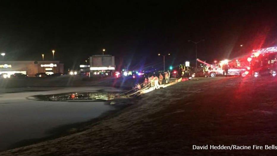 Truck submerged in pond in Racine (PHOTO: David Hedden/Racine Fire Bells)