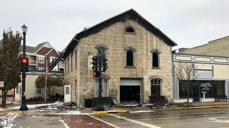 Structure fire near Beech Street and Wisconsin Avenue in Grafton