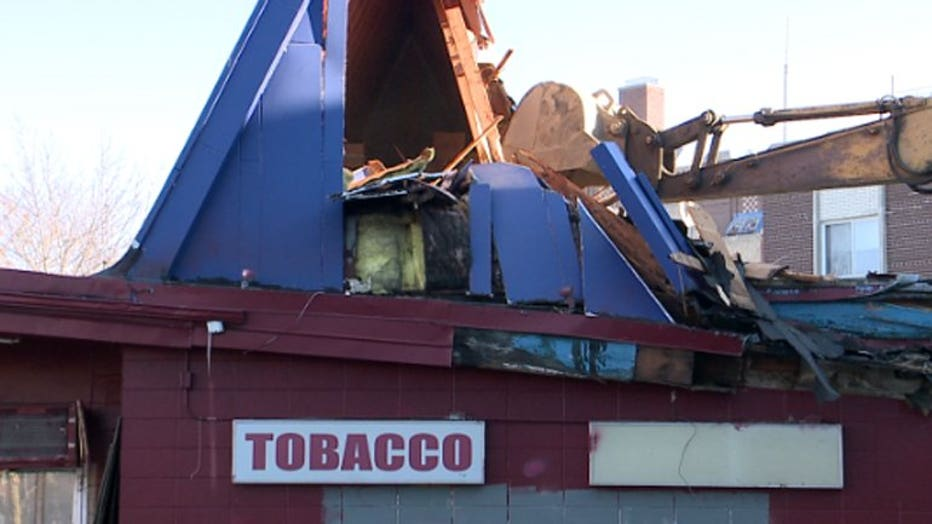 Tobacco Shop being demolished