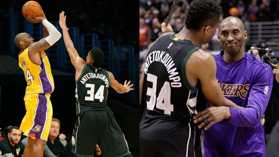 Kobe Bryant, Giannis Antetokounmpo (PHOTOS: Getty Images)