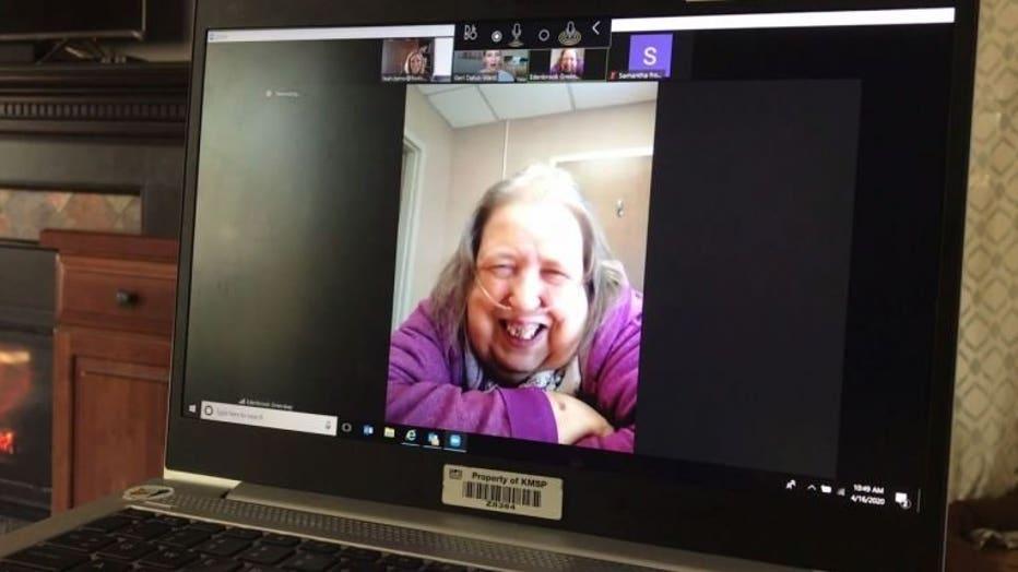 Barbara LeGrebe participates in a Zoom call through Virtual Visit Friends.