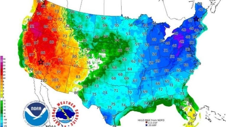 A contrast between temperatures on the West and East Coast on Saturday as a portion of the polar vortex brings bitter cold air to the Northeast. ( NWS WPC )