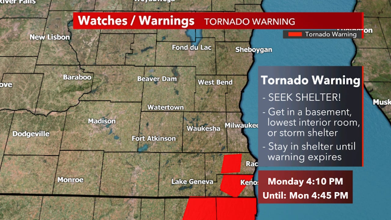 tornado warning issued for racine county until 4 45 p m