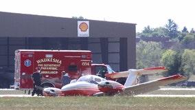Twin-engine plane slides off runway at Crites Field in Waukesha, nobody hurt