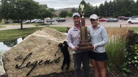 Home from college due to COVID-19, Wales golfer wins father-daughter state tourney with dad