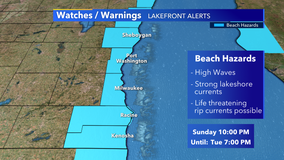 NWS issues 'Beach Hazard Statement' for lakeshore counties through Tuesday evening