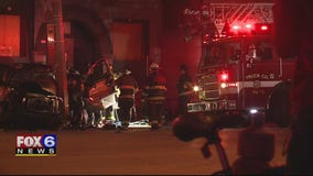 Driver taken to hospital after striking light pole near 5th and North in Milwaukee