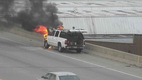 Vehicle fire temporarily closes 2 lanes on I-94 EB near Oklahoma Avenue
