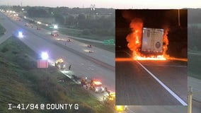 Semi fire temporarily shut down portion of I-94 SB in Racine County, all lanes now open