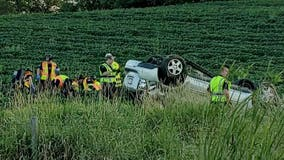 Officials: 3 teens, 1 adult hurt in rollover crash off of I-43 in Grafton