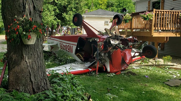 Single-engine airplane crashes in Town of Burlington, narrowly misses house