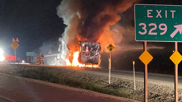 No injuries after semi carrying tubs of caramel caught fire on I-94 in Racine County